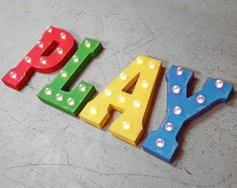 ON SALE! PLAY Battery Operated. Choose Free Standing or Hang Hooks. Metal Marquee Light Up Sign. Batteries Included! Playroom Game Room Den