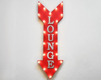 "On Sale! 36"" LOUNGE Metal Arrow Sign - Plugin or Battery Operated Led - Sitting Lounge Waiting Area Restaurant - Rustic Marquee Light up"