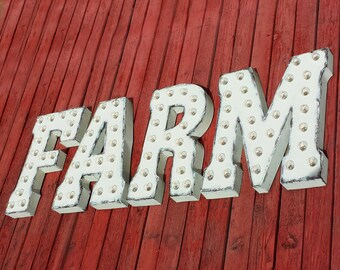 ON SALE! FARM Farmhouse Red Barn Farmers Market Free Standing or Hang. Rustic Metal Vintage Style Marquee Sign Light Up Letters. 24 Colors.