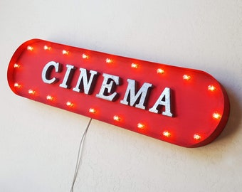 "On Sale! 39"" CINEMA Metal Oval Sign - Theater Theatre Film Festival Movie Movies Flic - Vintage Style Rustic Marquee Light Up"