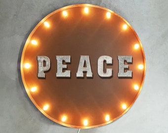 """On Sale! 30"""" PEACE Round Metal Sign - Plugin or Battery Operated - Love Happy Happiness World - Rustic Vintage Marquee Light Up"""