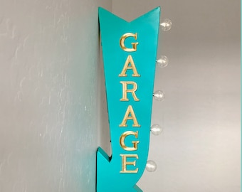 "On Sale! 25"" GARAGE Park Here Parking Garage Plugin or Battery Operated Rustic led Double Sided Rustic Metal Arrow Marquee Light Up Sign"