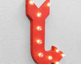 "On Sale! 24"" Directional Curved Metal Arrow Sign - Enter Exit This Way Out - Rustic Vintage Marquee Light Up"