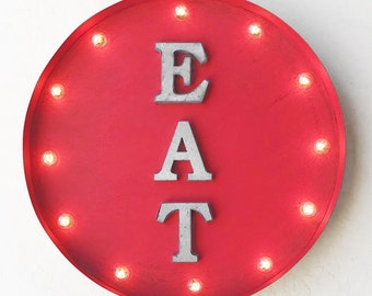 "ON SALE! 20"" EAT Plugin or Battery Operated led Rustic Metal Round Marquee Eatery Bar Cafe Restaurant Diner Food Yum Light Up Sign 14 Colors"