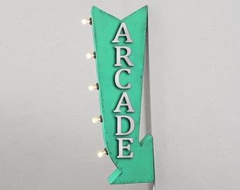 """On Sale! 25"""" ARCADE Metal Arrow Sign - Plugin or Battery Operated - Video Game Play Games Pinball - Double Sided Rustic Marquee Light Up"""