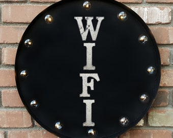 "On Sale! 20"" WIFI Round Metal Sign - Plugin or Battery Operated - Internet Service Computer Laptop - Rustic Vintage Marquee Light Up"