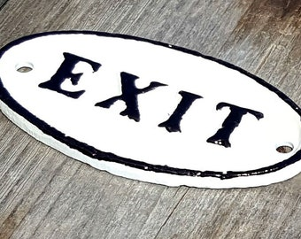 On Sale - EXIT Metal Vintage Antique Style Solid Iron Door Sign Plaque - 4 color options!