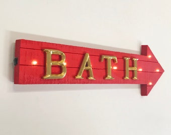 """ON SALE! 21"""" BATH Wood Battery Operated led Rustic Wooden Restroom Toilet Mens Womens Arrow Marquee Light Up Sign"""