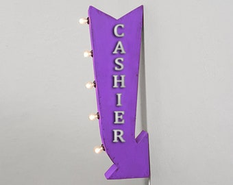 """On Sale! 25"""" CASHIER Metal Arrow Sign - Please Pay Here Cash or Check - Plugin Battery Operated Rustic Double Sided Rustic Marquee Light Up"""