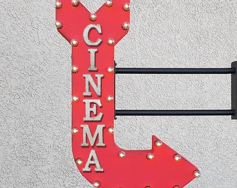 "On Sale! 36"" CINEMA Metal Arrow Sign - Movie Theater Play Theatre Film Feature - Double Sided Hang or Suspend - Rustic Marquee Light Up"