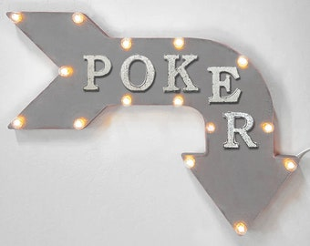 "On Sale! 24"" POKER Curved Metal Arrow Sign - Chips Cards Card Game Table - Rustic Vintage Marquee Light Up"