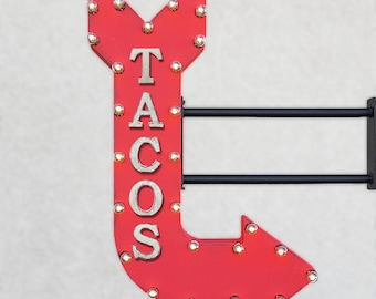 "On Sale! 36"" TACOS Metal Arrow Sign - Mexican Restaurant Food Yum Nachos Burritos - Double Sided Hang or Suspend - Rustic Marquee Light Up"