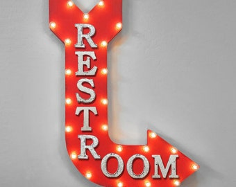 "On Sale! 36"" RESTROOM Metal Arrow Sign - Plugin or Battery Operated - Bathroom Men's Women's Restaurant Store Shop - Rustic Marquee Light up"