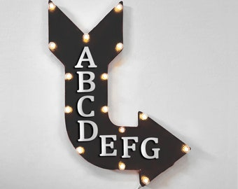 """On Sale! 24"""" AIRBNB Curved Metal Arrow Sign - Air Bnb Home Room Lodge Cabin Board House Rent Daily Nightly - Rustic Vintage Marquee Light Up"""