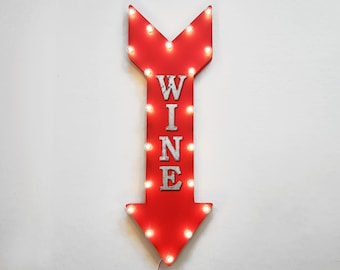 """ON SALE! 36"""" WINE Glass Bar Tasting Vineyard Winery Alcohol Plug-In or Battery Operated led Light Up Large Rustic Metal Marquee Sign Arrow"""
