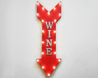 "On Sale! 36"" WINE Metal Arrow Sign - Plugin or Battery Operated Led - Glass Bar Tasting Vineyard Winery Alcohol - Rustic Marquee Light up"