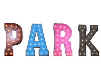 "On Sale! 21"" PARK Metal Sign - Self Parking Car Lot Garage Free Standing or Hang - Rustic Vintage Style Marquee Light Up Letters"
