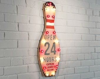 "ON SALE! 28"" Rustic Vintage Inspired Nostalgic Metal Open 24 Hours Bowling Alley Pin Lucky Strike Spare Gutter Ball Marquee Light Up Sign"