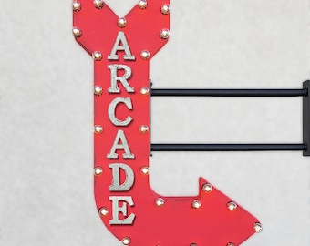 "On Sale! 36"" ARCADE Metal Arrow Sign - Video Games Game Room Gaming Entertainment - Double Sided Hang or Suspend - Rustic Marquee Light Up"