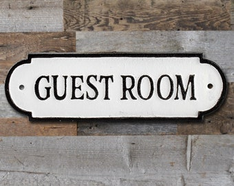 On Sale! - GUEST ROOM Sign Solid Cast Iron  Metal Vintage Antique Style Entry Door Sign Plaque