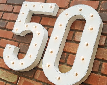 "On Sale! 21"" 50 Metal Sign - 50th Bday Anniversary Party Numbers Free Stand or Hang - Rustic Vintage Style Marquee Light Up Numbers"