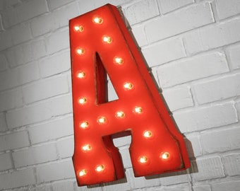 """ON SALE! 21"""" Metal Letter A - Plugin, Battery Operated or Solar Powered - Rustic Nostalgic Vintage Style - Light Up Marquee Letter Sign."""