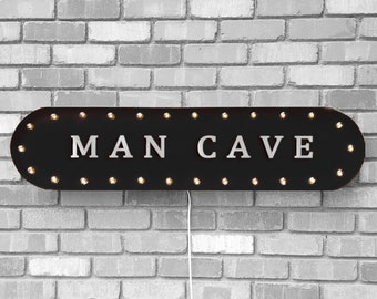 "On Sale! 39"" MAN CAVE Metal Oval Sign - Den Garage Play Room Quiet Place Men Only - Vintage Style Rustic Marquee Light Up"