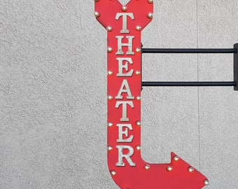 "On Sale! 48"" THEATER Metal Arrow Sign - Movie Movies Theatre Cinema Films Film - Double Sided Hang or Suspend - Rustic Marquee Light Up"