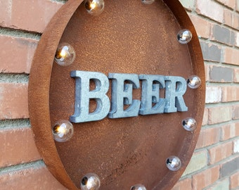 "ON SALE 20"" BEER Plugin or Battery Operated led Rustic Metal Round Marquee Pub Garden Bar Drinks Restaurant Cocktail Light Up Sign 14 Colors"