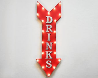 "On Sale! 36"" DRINKS Metal Arrow Sign - Plugin or Battery Operated Led - Beer Cocktail Beverages Cold Drink - Rustic Marquee Light up"