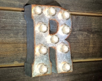 "On Sale! 7"" Letter R - Metal Sign - Plugin - Small Rustic Marquee LED Alphabet Light Up"