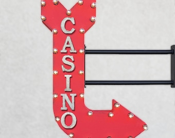"On Sale! 36"" CASINO Metal Arrow Sign - Dice Cards Card Games Gambling Poker Slots - Double Sided Hang or Suspend - Rustic Marquee Light Up"