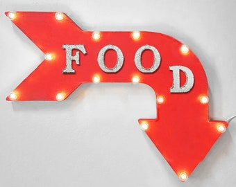 "On Sale! 24"" FOOD Curved Metal Arrow Sign - Eat Market Store Cafe Bakery Order Pick Up - Rustic Vintage Marquee Light Up"