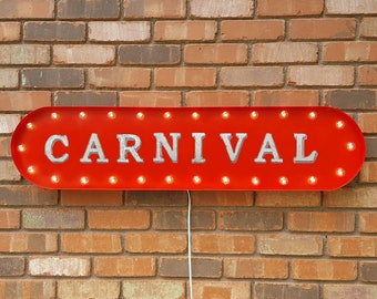 """On Sale! 39"""" CARNIVAL Metal Oval Sign - Fun Circus Rides Thrill Enjoy - Vintage Style Rustic Marquee Light Up"""