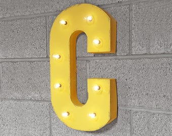 ON SALE! Letter C. Battery Operated. Choose Rustic or Non-Rustic. 24 Colors. Vintage Style Marquee LED Light Up Sign. Batteries Included!