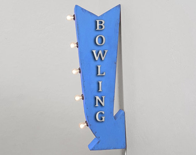 "Featured listing image: On Sale! 25"" BOWLING Metal Arrow Sign - Alley Lanes Open Bowl Pin Pins - Plugin Battery Operated Rustic Double Sided Rustic Marquee Light Up"