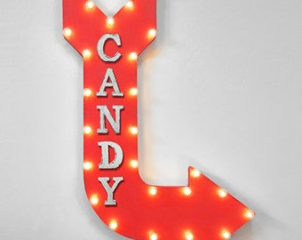 "On Sale! 36"" CANDY Metal Arrow Sign - Sweets Chocolate Truffle Dessert Shop Sugar - Double Sided Hang or Suspend - Rustic Marquee Light Up"