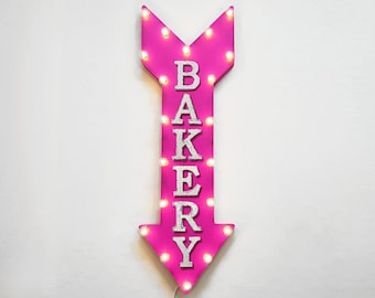 "On Sale! 36"" BAKERY Metal Arrow Sign - Plugin or Battery Operated Led - Bake Muffins Pastries Bread Cafe - Rustic Marquee Light Up"