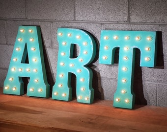 ON SALE! ART Walk Show Artist Artwork Vendor Event Free Standing or Hang. Rustic Metal Vintage Style Marquee Sign Light Up Letters 24 Colors