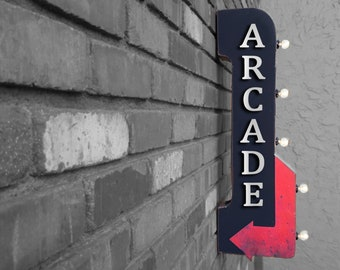 """On Sale! 30"""" ARCADE Metal Arrow Sign - Plugin or Battery Operated - Hall Game Gaming Games Fun Play - Double Sided Rustic Marquee Light Up"""