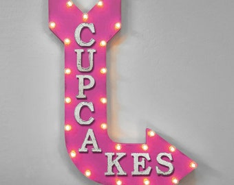 "On Sale! 36"" CUPCAKES Metal Arrow Sign - Plugin or Battery Operated - Cupcake Bakery Candy Treats - Rustic Marquee Light up"