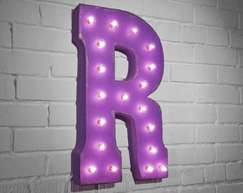 """ON SALE! 21"""" Metal Letter R - Plugin, Battery Operated or Solar Powered - Rustic Nostalgic Vintage Style - Light Up Marquee Letter Sign."""