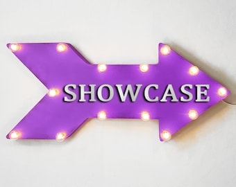 "On Sale! 24"" SHOWCASE Straight Metal Arrow Sign - Cars Auto Exhibit Exhibition Show Case Display - Rustic Vintage Marquee Light Up"