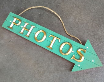 """ON SALE! 21"""" PHOTOS Wood Battery Operated led Rustic Wooden Photo Booth Photos Pics Photobooth Smile Say Cheese Arrow Marquee Light Up Sign"""