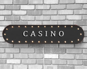 """On Sale! 39"""" CASINO Metal Oval Sign - Poker Slots Slot Machine Card Game Games Roulette Gamble - Vintage Style Rustic Marquee Light Up"""