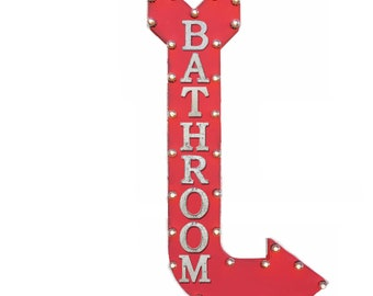 "ON SALE! 48"" BATHROOM Plug-In or Battery Operated led Rustic Metal Curved Arrow Marquee Restroom Mens Womens Gents Ladies Light Up Sign"