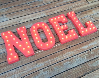 "On Sale! 21"" NOEL Metal Sign - Christmas Joy Santa Holiday Xmas Free Stand or Hang - Rustic Vintage Style Marquee Light Up Letters"