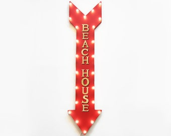 """On Sale! 48"""" BEACH HOUSE Bungalow Vacation Rental Rentals Plugin Battery Operated led Rustic Metal Light Up Arrow Marquee Sign"""