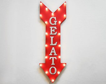 "On Sale! 36"" GELATO Metal Arrow Sign - Plugin or Battery Operated Led - Italian Ice Cream Yum Dessert - Rustic Marquee Light up"