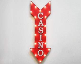 "On Sale! 36"" CASINO Metal Arrow Sign - Plugin or Battery Operated led - Dice Cards Bets Games Coins Gamble - Rustic Marquee Light up"